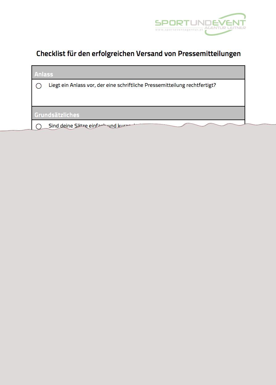 Checkliste Pressemitteilung - Sport und Event Agentur Leitner